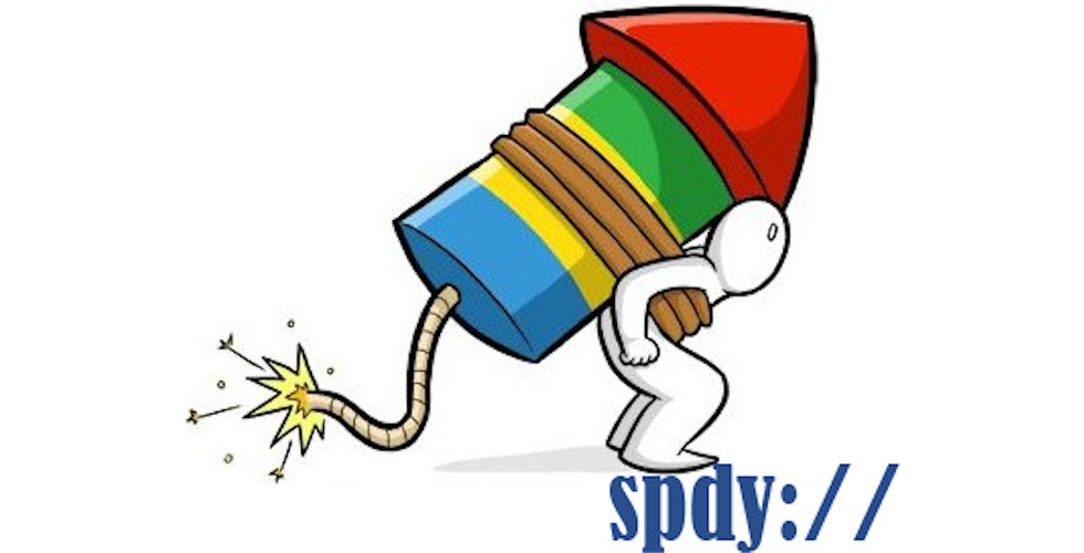 Man with google colored rocket and SPDY:// text